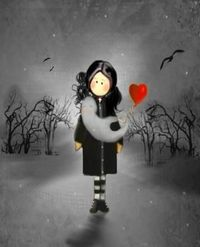 Goth Girl and Ghost - Whimsical Art Print #zibbet