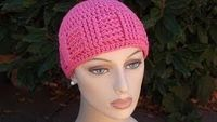 Crochet for Cancer's Basketweave Vertical Stripe Cap