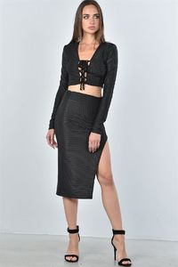 20% discount with BESTDEAL at checkout! Ladies fashion black textured lace up top and high split midi skirt two piece set $29.00