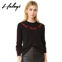 Must-have Vogue Simple Solid Color Embroidery Scoop Neck Alphabet Fall 9/10 Sleeves Sweater - Bonny YZOZO Boutique Store