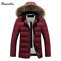 2018 Winter New Men's Jacket And Thick Fur Collar Plus Size White Duck Down Jacket Men Outwear Warm Hooded D158 $95.38