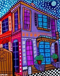 "Heather Galler. A elaboration of the ""House Perspective"" or ""Draw Your Dream House"" project!- I like the new Orleans style of the painting."