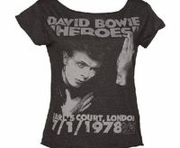 Amplified Vintage Ladies Charcoal David Bowie Heroes London 1978 Amplified Vintage have fast become the definitive go to label for authentic vintage Rock T-Shirts - and with cool designs like this, we can see! Paying homage to the legendary David Bowie co...