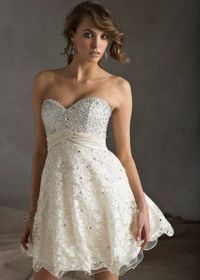 White Sequined Top Strapless Lace Cover Short Ruched Prom Dress