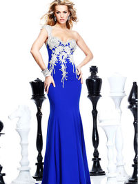 Mermaid Prom Dresses One Shoulder Court Train Chiffon Dark Royal