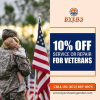 Byers Heating & Air Conditioning Inc is providing 10% off on service or repair for Veterans.Contact us 812-897-4975 to grab the deal.