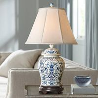 English Blue and White Porcelain Temple Jar Table Lamp