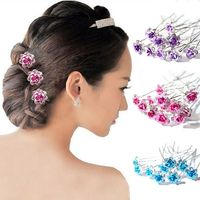 20PC Women Wedding Bridal Clear Crystal Rhinestone Rose Flower Hair Pin Clips Hair Accessories Jewelry Barrettes Headwear $2.15
