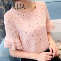 ROPALIA Women Chiffon Blouse Top Short Sleeve Casual Shirts Loose Tops Polka Dot Print Thin Shirt Blouse $22.79