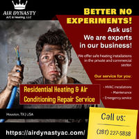 Residential heating & air conditioning repair services for Houston people available at an affordable price. Air Dynasty is a local company that provides quality services with flexible hours. Give us a call at (281) 227-5858
