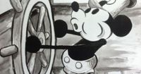 Black And White Mickey Mouse acrylic painting on canvas 16x20