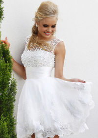 A Line White Pearl Beaded Tulle Lace Floral Cocktail Dress
