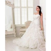 Charming A-line Sweetheart Embroidery Ruching Sweep/Brush Train Organza Wedding Dresses - Dressesular.com