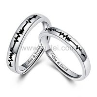 Engraved Heartbeat Rings Set Rhodium Plated Silver Expandable Size https://www.gullei.com/engravable-rhodium-plated-silver-expandable-heartbeat-rings-set.html
