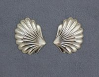 Scallop Shell Magnetic or Pierced Earrings 20 x 35 mm $40.00 Designed by LauraWilson.com