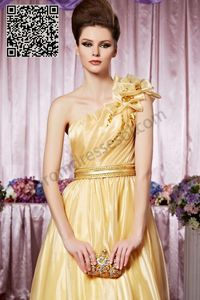 Yellow Organza Graceful One Shoulder Party dresses SO266
