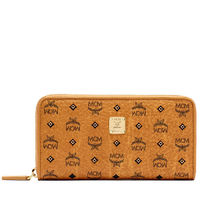 MCM Large Gold Visetos Studs Wallet In Brown