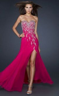 Hot Pink Strapless Sequined Split Prom Dress