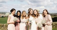 Baby's breath bridesmaid bouquets and hair wreath