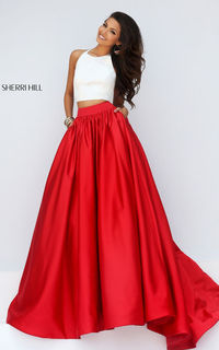 Two Piece Sherri Hill 50134 Ivory Red Long Homecoming Dress