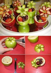 diy party decorations, fruit cups and fruit bowls.