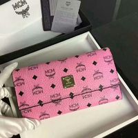 MCM Color Visetos Trifold Wallet In Pink