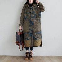 HOODED WINTER LONG COAT, LARGE SIZE COAT, LOOSE PADDED COAT, ASYMMETRIC COAT, PLUS SIZE CLOTHING