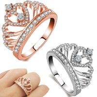 Women 925 Sterling Silver Ring Heart Queen Crown Ring Crystal Ring $22.0