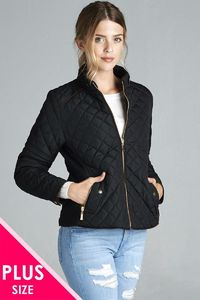 Quilted Padding Jacket With Suede Piping Details $40.02