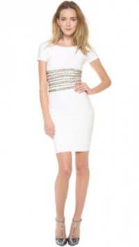 £92.00 HERVE LEGER Gold Embroidered Waist Dress White