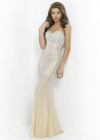 2015 Sparkly Beaded Nude Strapless Blush 9912 Stunning Evening Gown