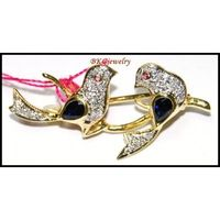 Natural Diamond 14K Yellow Gold Blue Sapphire Bird Brooch/Pin [I 027]