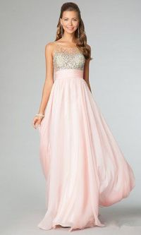 Blush Sequin Sheer Jovani 91296 Long Prom Dresses 2014
