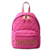 Moschino Studded Logo Women Quilted Techno Fabric Backpack Rose