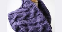 Pascala Cable Hand Knit Cowl Scarf, Baby Alpaca and Silk, in Purple from Elena Rosenberg Wearable Fiber Art - Autumn/Winter Pop-Up Shop for $145.00
