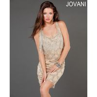 Classical Beautiful Jovani Scoop Neck Cocktail Dress With Fringed Neckline 70771 New Arrival - Bonny Evening Dresses Online