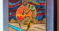 Kokopelli, Native American, Southwest art, Art quilt on canvas, Home decor. $145.00, via Etsy.