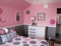 Pretty in Pink, Pink and Gray Girls Bedroom, The dresser was converted from a changing table to a dresser with some wood filler, fabric and paint!, Girls Rooms Design