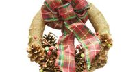 Pine Cone #Wreath #holidays Wrap (styrofoam) wreath with Burlap and add ribbon and pinecones