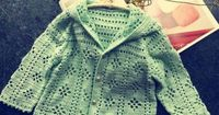Crochet baby cardigan sweater- pattern is in photographs
