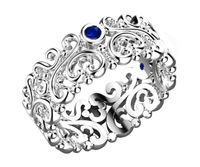 14K White Gold Leaves band 3 Blue Sapphires 7mm width Flower Band Filigree Band Ring $950.00