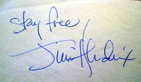 Jimi Hendrix autograph with Stay Free inscription.