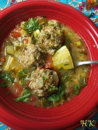 Albondigas Soup Recipe: ground Chuck, long grain white rice, cumin, smoked paprika, garlic powder, pepper, salt, chipotle, egg, Roma tomatoes, poblano pepper, zucchini, onion, garlic, serrano pepper, fresh cilantro, lime juice, cumin seeds, coriander seed...
