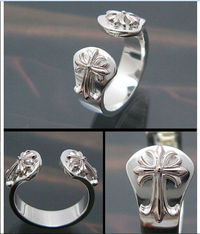 ea28d8b185f7 Cheap Chrome Hearts 925 Silver Rings with Two Sacred Crosses Online Classic  silver