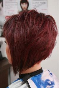 Super cute red hair in a stacked angled bob