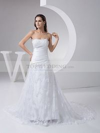 LACE OVERLAID STRAPLESS SATIN WEDDING DRESS WITH PLEATS