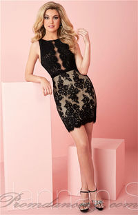 Short Black Fitted Hannah S 27125 Lace Homecoming Dress