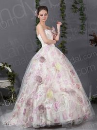 Fancy Ball Gown Strapless Brush Train Tulle Pink Wedding Dress