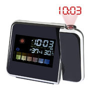 Digital LCD Color Screen Projection Electronic Thermometer Hygrometer Timer