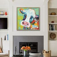 Cow painting On Canvas Cow art canvas Farm animal painting Original oil painting Cows impasto heavy texture palette knife Wall pictures $69.00